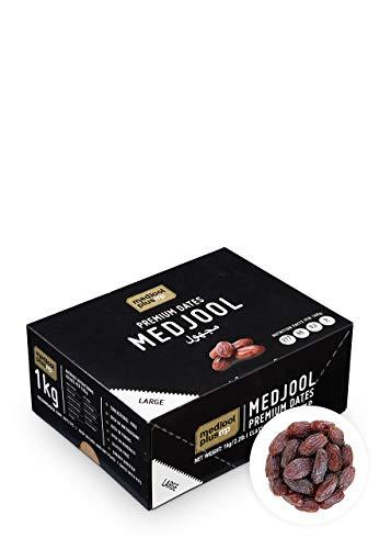 KoRo - Dátiles Medjool con hueso 1 kg - Dátiles Medjool muy suaves, sin azúcar ni azufre, con notas dulces de caramelo y miel