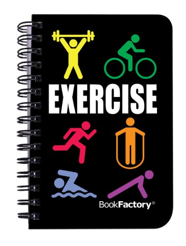 "BookFactory Fitness Journal/Workout Journal/Exercise Journal/Log Book, 120 Pages, 3.5� x 5.25"" (Pocket Sized Book), Translucent Cover, Wire-O Binding (JOU-120-M3CW-A (Exercise))"