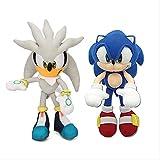 Detazhi 2pcs 32cm Sonic Toys Silver Blue Sonic Plush Set Sonic The Hedgehog Plush Toy Sonic Tails Knuckles Dolls Silver and Blue