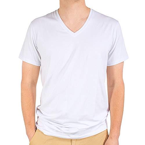 Men's 3 Pack V-Neck, White, Medium - Soft Undershirts - Tag Free Classic Fit Design