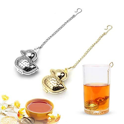 XGzhsa Colador de té de acero inoxidable, filtros para el té, 2 piezas de infusor de té en forma de pato con cadena, colador de té creativo para té de hojas sueltas (plata, oro)