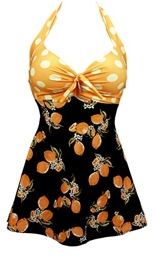 COCOSHIP Orange & Black Lemon Fruit Yellow Polka Dot Vintage Sailor Pin Up Swimsuit One Piece Skirtini Cover Up Cruise Beachwear L