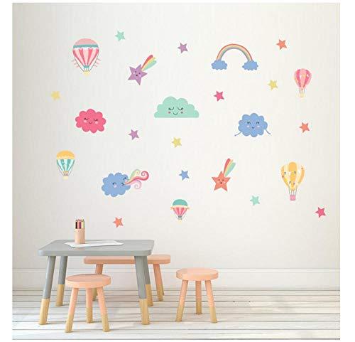 Pegatinas de pared con diseño de nubes y globos de aire caliente para jardín de infancia, dormitorio, sala de estar, decoración de habitación de los niños, adhesivo de PVC