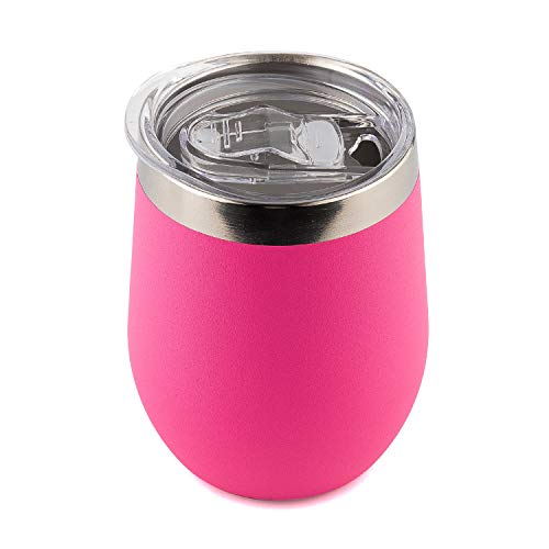 DOKIO 12 oz Pink Wine Sippy Cup For Adults Insulated Wine Glasses Tumbler Stemless Stainless Steel Double Wall Vacuum Mug With Waterproof Lid Hot Drink Coffee Champagne Cocktail Mug Outdoors