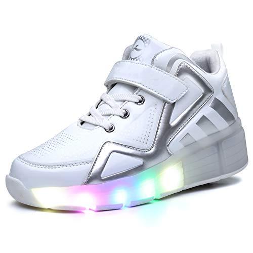 Xiaozhan LED Kinderschuhe Blinkschuhe Mit Rollen Skateboardschuhe Skate Schuhe, Mädchen Junge Mode LED Rollenschuhe Mit Automatisch, USB Aufladen,Weiß,3.5BigKid(EU36)