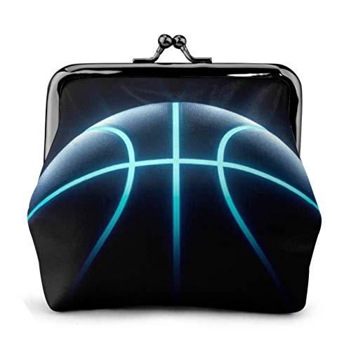 Monedero 3D Rendering Futuristic Sport Concept Baloncesto Hebilla Monedero de Cuero Monedero Bolsa Monedero para Mujeres Kiss-Lock Monedero Monederos
