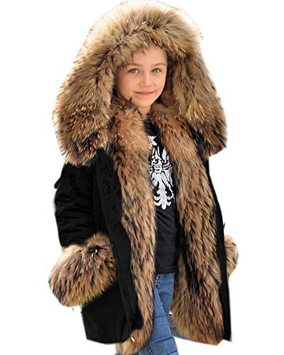Aofur Kids Unisex Coat Winter Black Jacket Faux Fur Parka Casual Hooded Warm Trench Outwear Children Clothes for Girls Boys (6-7 Years, Black)