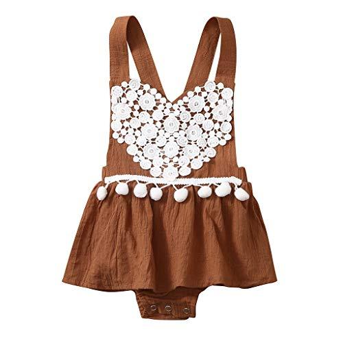wuayi Body Bébé, Bébé Fille Floral Backless Lace Tassel Dress Combinaison Romper Barboteuse Global 0 à 24 Mois