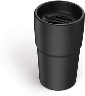 haimeimaoyi(US) HM schwarzer Getränkehalter für die Mittelkonsole, multifunktionaler abnehmbarer Auto Mülleimer mit Kartenschlitz, Münzsammler, Taschentuch Aufbewahrungsbox