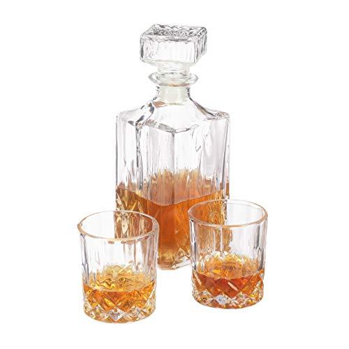 Relaxdays Whisky Set, Whiskykaraffe 1 Liter, 2 Whiskygläser 200 ml, Cognac und Whiskey, Hausbar, Dekanter, transparent