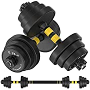 IAMACE Adjustable Dumbbells Set with Durable Solid Steel Dumbbell Rod Woman and Man Safe Barbell Free Weights Dumbbells Set (Blcak, Barbell 44LB or 22LB Dumbbell Pair)