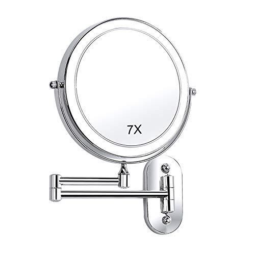 SWAWIS Miroir Grossissant Lumineux Mural, 7X Miroir Maquillage, Miroir Grossissant Salle de Bain, Miroir Lumineux avec Éclairage LED 360° Rotation, Alimenté par 4 Piles AAA (Non Inclus)
