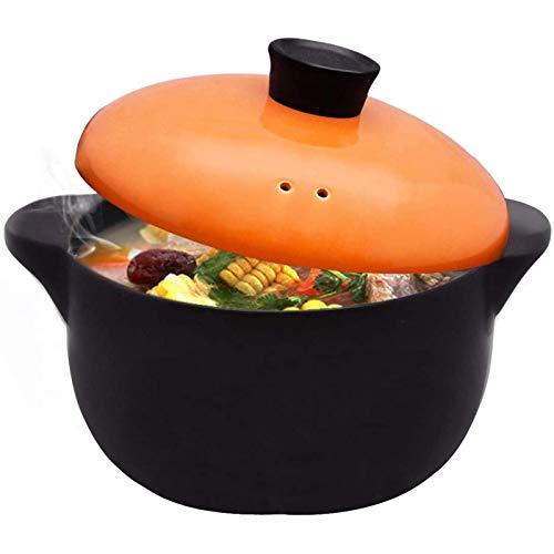 Soupe de Soupière en Céramique Pure avec Couvercle à Double Poignée avec Feu Ouvert Plat noir Rond en CéRamique Casserole/Pot en Argile/Batterie de Cuisine en Céramique avec Couvercle,5L
