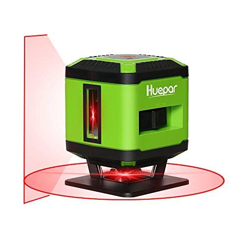 Huepar FL360R tegels laser rood, kruislijnlaser voor het leggen van tegels, schakelbare zelfnivellerende 360° horizontale lijn, 10 m werkgebied radius overkapping, incl. houder