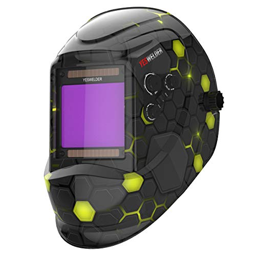 YESWELDER Large Viewing 3.94'X3.66' True Color Solar Power Auto Darkening Welding Helmet, 4 Arc Sensor Wide Shade 4~5/9-9/13 for TIG MIG Arc Weld Grinding Welder Mask LYG-M800H-A