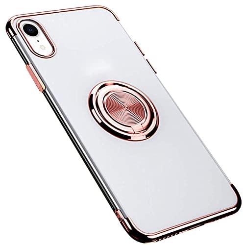 Fulidy Coque iPhone X, Coque iPhone XS, Slim Fit TPU avec Support de Bague Silicone Gel Anti Mince Placage Bumper Housse Lustre Métal 360° Bague Support Téléphone Voiture Etui