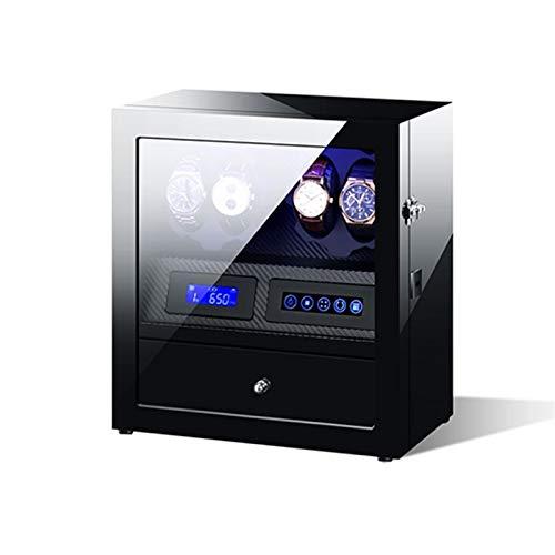 KHUY Uhrenbeweger 4 Uhren, Moderner Luxuriösen Uhrenbeweger für Automatikuhren mit Led-licht, Uhrenkasten Herren und Uhrenbox Damen, Extrem Stummem Motor (Color : D)