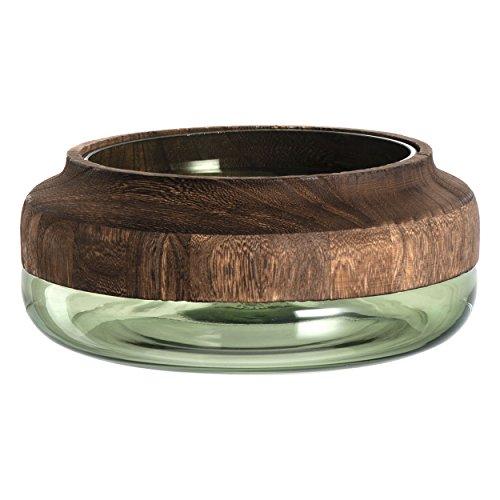 Leonardo Colletto Glas-Schale, handgefertigte Deko-Vase in Grün, runde Blumen-Vase mit Holz-Aufsatz, Ø 248 mm, 029905