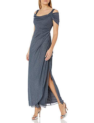 Alex Evenings Women\'s Long Cold Shoulder Dress (Petite and Regular Sizes), Smoke Glitter, 14