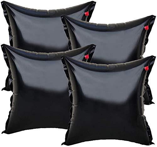 well2wellness 4 x Luftkissen, Winterkissen und Poolkissen Premium Black Edition für Pool Abdeckplanen