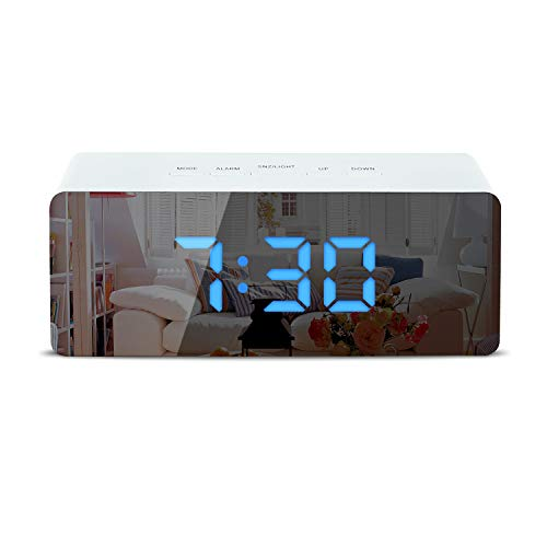 Shayson Digital Alarm Clock, LED Display Clock Best Makeup Bedroom Mirror Travel Alarm Office Bedroom Clock, Alarm Clock with Snooze, Dimmer Control, Support Battery Powered and with USB Port-Blue