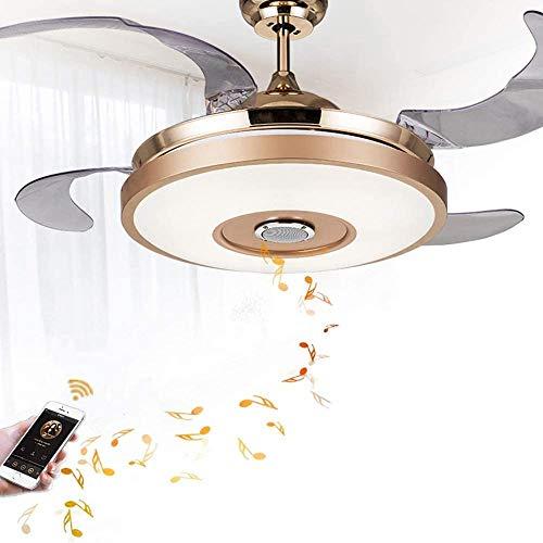 Ventilator Aan Het Plafond Chandelier 42 Inch Verlichte Bluetooth Speaker Music Player Fan Kroonluchter Modern Smart Plafond Ventilator Met 7 Kleur Onzichtbare Blades Met Afstandsbediening