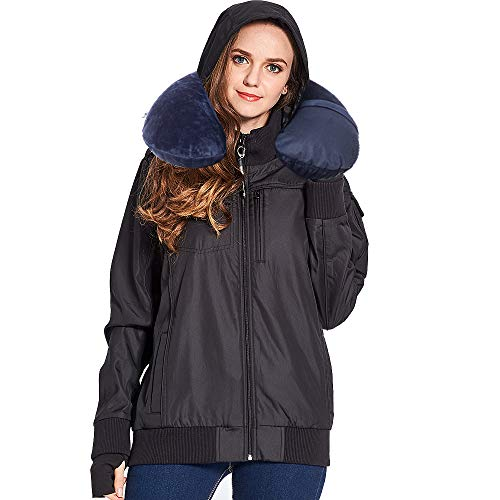 BOMBAX Women Travel Jacket 10 Pocket Flight Bomber Windbreaker Coats Outwear Black