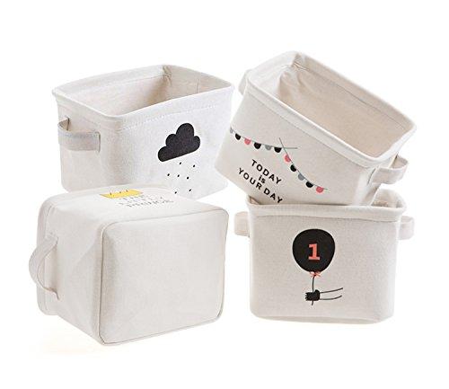 Cesta portaoggetti mini cassette in cotone tessuto organizer per scaffali e scrivanie, giocattoli per bambini, libri, makeup Storage, set di 4