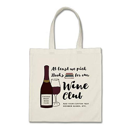 grappige boek club echt wijn club aangepaste boek tas