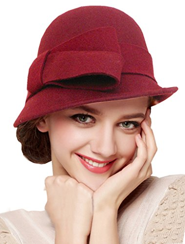 Bellady Women Solid Color Winter Hat Wool Cloche Bucket with Bow Accent,Dark Red
