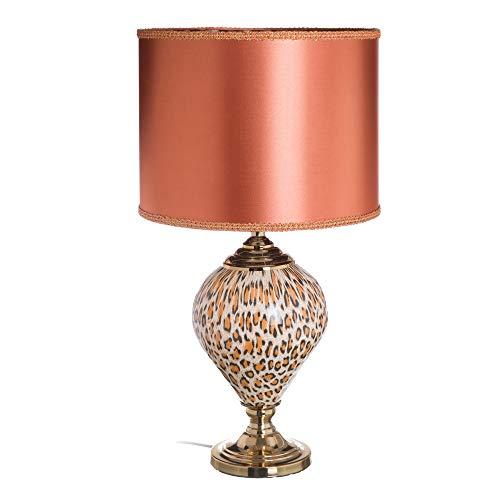 Lámpara de mesa animal print exótica de cristal coral, de ø 35x67 cm - LOLAhome