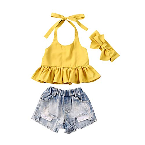 Fashion Toddler Kids Baby Girl Boy Summer Off Shoulder Ruffle Sleeveless Tassel T-Shirt Top+Floral Shorts Clothes Set 6M-7Y (Yellow, 4-5T)