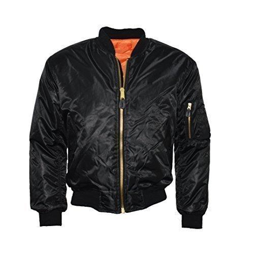 Urban Couture Clothing - Erwachsenen Jacke MA1 Bomber Flug Pilot Biker Sicherheit Wendbar - Schwarz, S