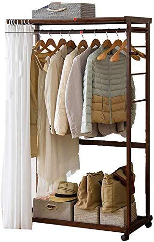 Met stofgordijnen, multifunctioneel, vloerplank, massief houten garderobe, verrijdbare kledinghanger, schoenenrek, woonkamer, slaapkamer B A