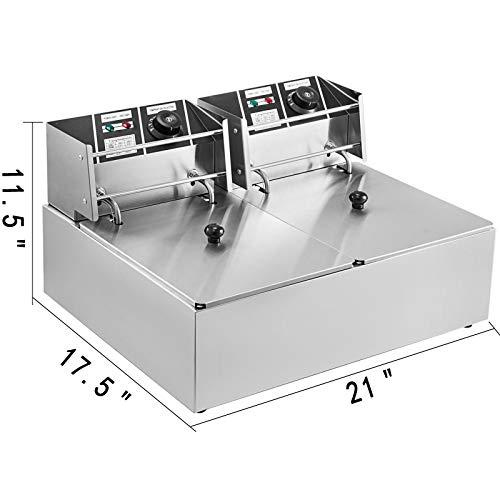 VEVOR 12L Friteuse Electrique INOX Friteuse Commerciale en Acier INOX à Double Réservoir 5000W Friteuse avec 2Paniers à Friture avec Poignée en Caoutchouc 240 x 300 x 153 mm
