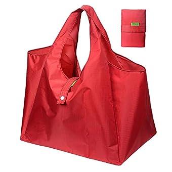 DZTSMART エコバッグ コンビニバッグ 折りたたみエコバッグ 買い物袋 レジカゴバッグ 収納 小SMALL おしゃれ エコバッグ メール便 お弁当袋 手提げ袋 防水素材 (S, 赤色)