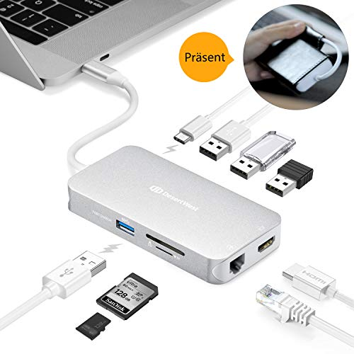 DesertWest [Upgraded] USB C Adapter Hub, 9 in 1 USB C Adapter, mit 4K HDMI, Power Delivery, USB C Ladeanschluss, microSD & SD Card Reader, 4 USB 3.0 Ports, für MacBook Pro, Pixelbook, XPS