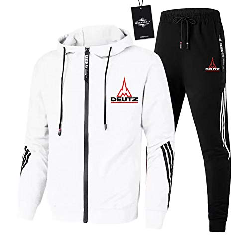 GUCCPAI Herren und Damen Sportanzug Für De.U_Tz Zweiteilige Jacke Pants Stripe mit Kapuze Trainingsanzug Mantel/Weiß/L