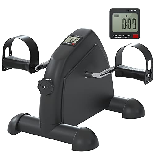 NEWFITMENT Pedal Exerciser Stationary Under Desk Mini Exercise Bike, Arm & Leg Peddler Machine with LCD Screen Displays