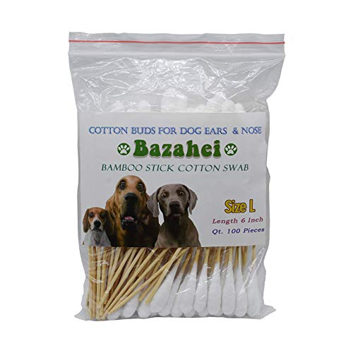 Bazahei Pet Swab/Large Sotton Swab,6 Lnch /1/2' Cotton Head Professional Large Cotton Buds - Dog Ear Cleaner Solution For Zymox (L Size) (White1)