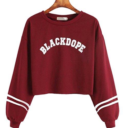 Keepwin Damen Herbst Casual Sweatshirt, Frauen BLACKDOPE Moden Langarm Rundhals Pullover Bluse Tops (S, Rot)