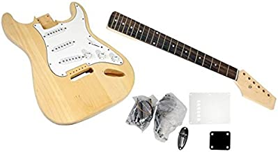 Unfinished Strat Electric Guitar Kit - You Build The Guitar, Basswood Body With Sanding Sealer, Includes All Parts And Ins...