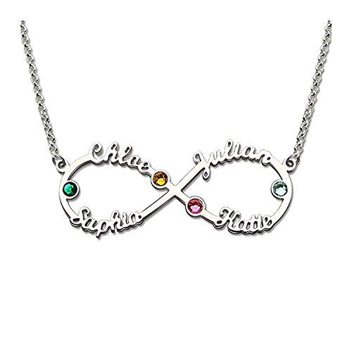 Loveu Jewelry Unendlich Namenskette Stil 925 Sterling Silber Personalisiert mit Ihrem eigenen Wunschnamen Halskette für Männer/Frauen Silber