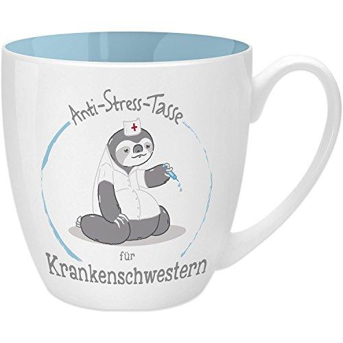 Gruss & Co 45494 Anti-Stress Tasse für Krankenschwestern, 45 cl, Geschenk, New Bone China, Blau, 9.5 cm