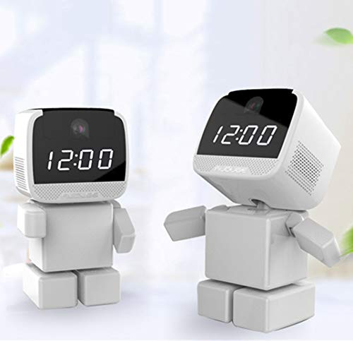Inalámbrico HD Robot Reloj despertador Cámara de seguridad, Inteligente Red Shaking Head Wifi Cámara Monitor Antirrobo Reloj electrónico,32G