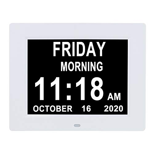 Digital Calendar Day Clock 8 Alarm Auto-Dimming Extra Large Display Day Date Time Clock for Seniors Elderly Dementia Vision Impaired Memory Loss