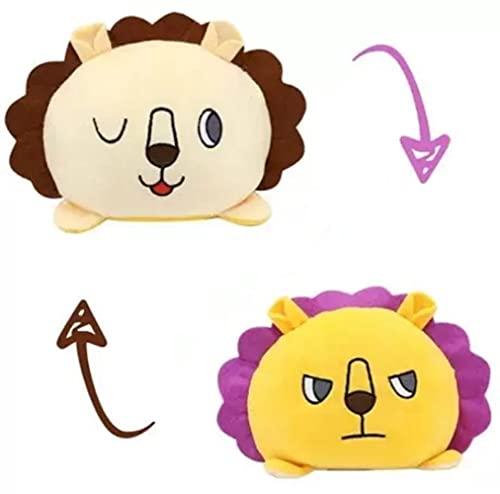 thematys - Pupazzo di peluche reversibile da utilizzare   Statuetta di peluche a forma di tartaruga, gatto, leone, pinguino, coniglio, riccio o tigre – Peluche reversibile (Style 014)