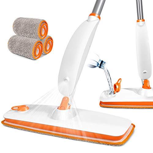 Masthome Mopa con Pulverizador,Fregona con Vaporizador,Spray mop con 4 Piezas Almohadilla de Microfibra Reutilizable para Suelos Laminados, Azulejo y de Madera,Naranja y Blanco