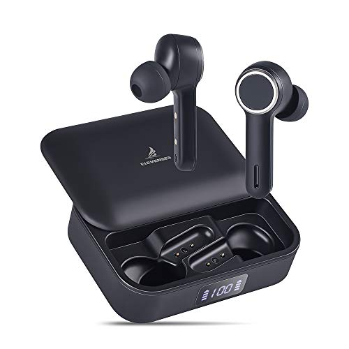 ELEVENSES True Wireless Earbuds with Microphones Bluetooth5.0 in-Ear Headphones Auto Pairing HD Sound 45H Playtime Ergonomic Design USB-C Slide Case
