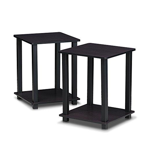 Furinno 12127 Simplistic End Table, Set of Two (Dark Walnut)